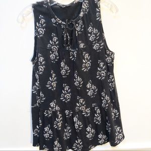 Lucky Brand Black/white Floral Tank Top